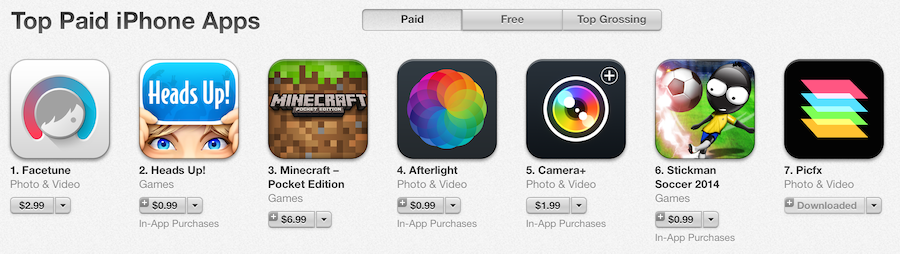Picfx 7th in app store